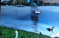 Original Fine Art for Wine & Canvas Orlando: Lake Eola