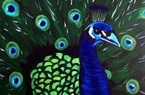 Original Fine Art for Wine & Canvas Orlando: Peacock