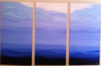 Blue Mood Triptych Acrylic