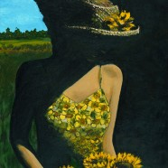 Sunflower Girl Acrylic Painting
